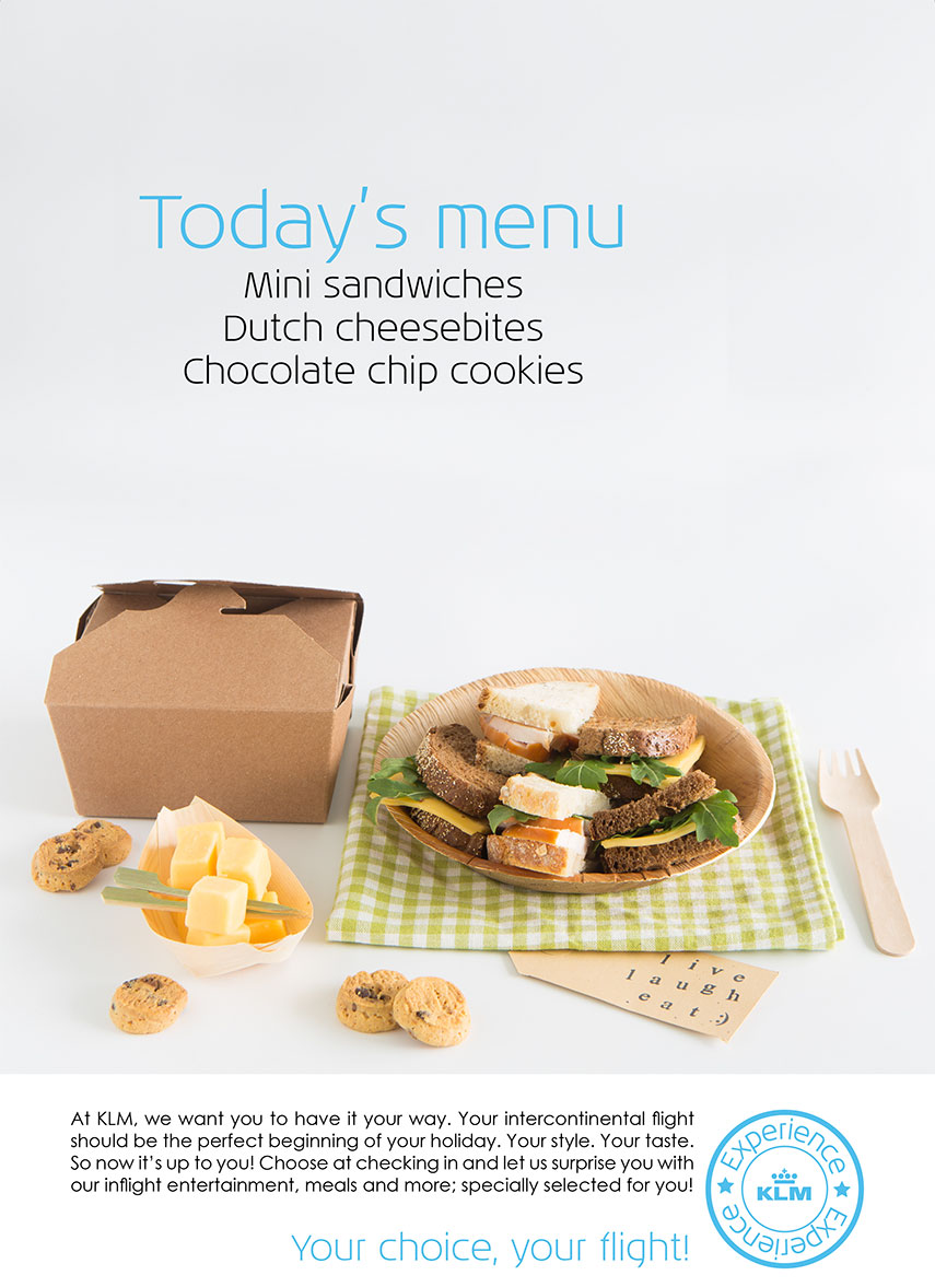From the kitchen: Food- & serviceconcept vliegtuigmaaltijden / in-flight meals - www.morethanmayo.com/food-service-concept-vliegtuig | image: your choice, your flight advertisement, copyright: More than Mayo foodconcepts