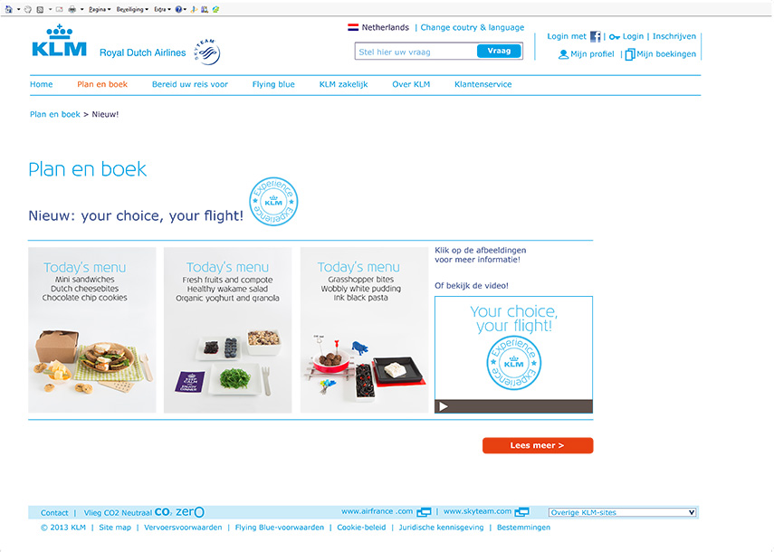 From the kitchen: Food- & serviceconcept vliegtuigmaaltijden / in-flight meals - www.morethanmayo.com/food-service-concept-vliegtuig | image: your choice, your flight website, copyright: More than Mayo foodconcepts