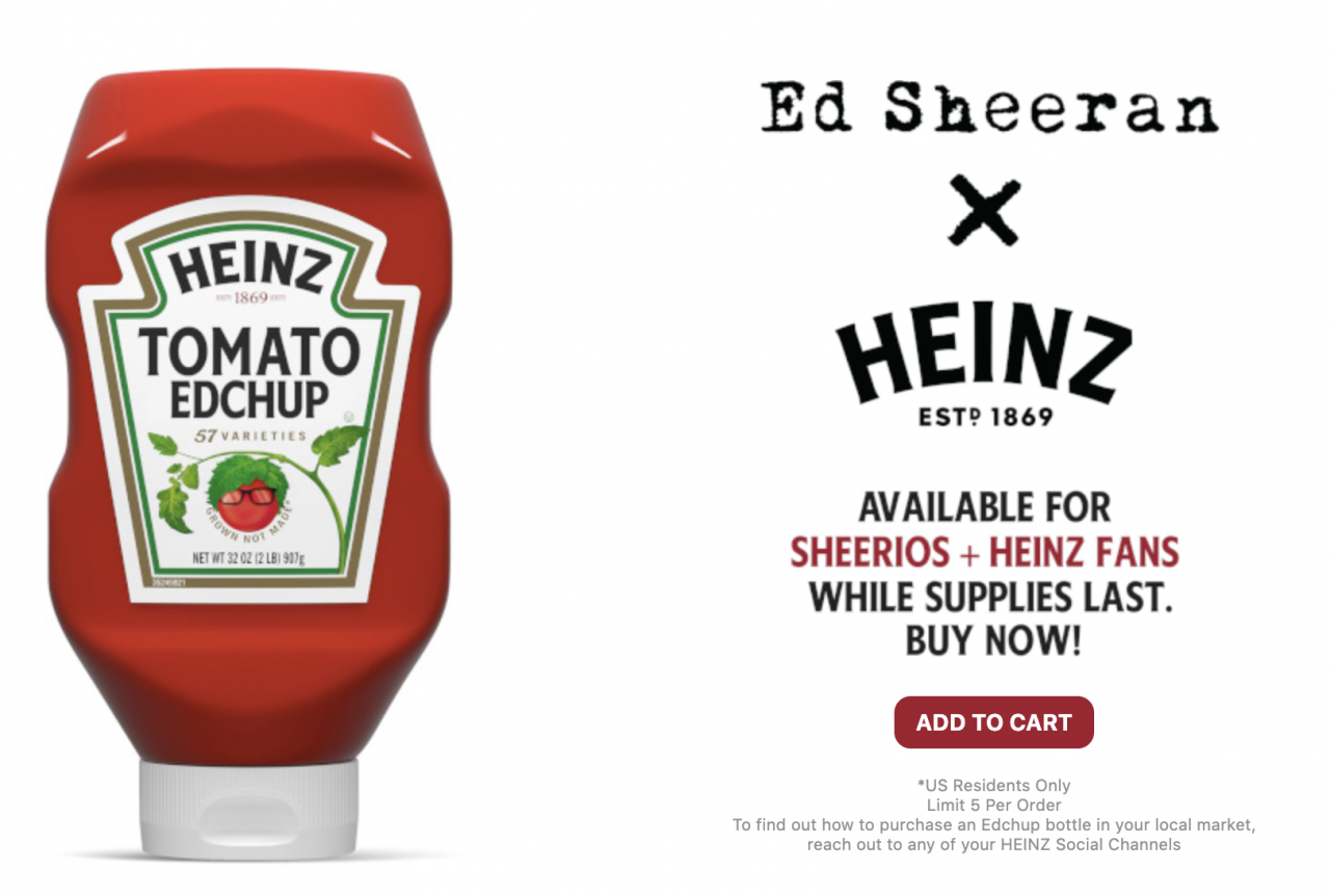 Experience case: Heinz x Ed Sheeran's Edchup - www.morethanmayo.com/edchup | image: Heinz Edchup, source: thedrum.com